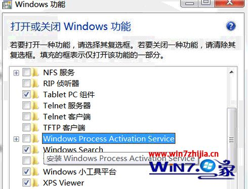 "勾选上""Windows Process Activation Service"""